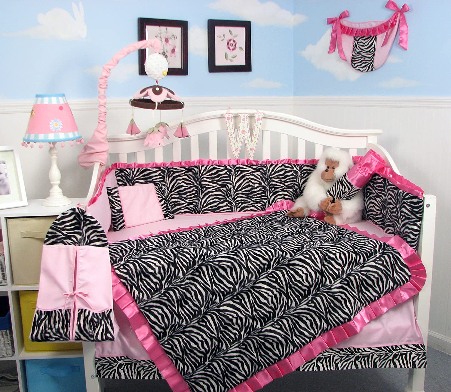 SoHo Pink with Black & White Zebra Chenille Crib Nursery Bedding 10 pcs Set by SoHo Designs: Amazon.es: Bebé