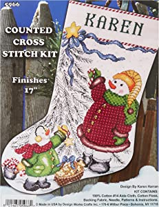 Tobin DW5966 14 Count Trim a Tree Snowman Stocking Counted Cross Stitch Kit, 17-Inch Long