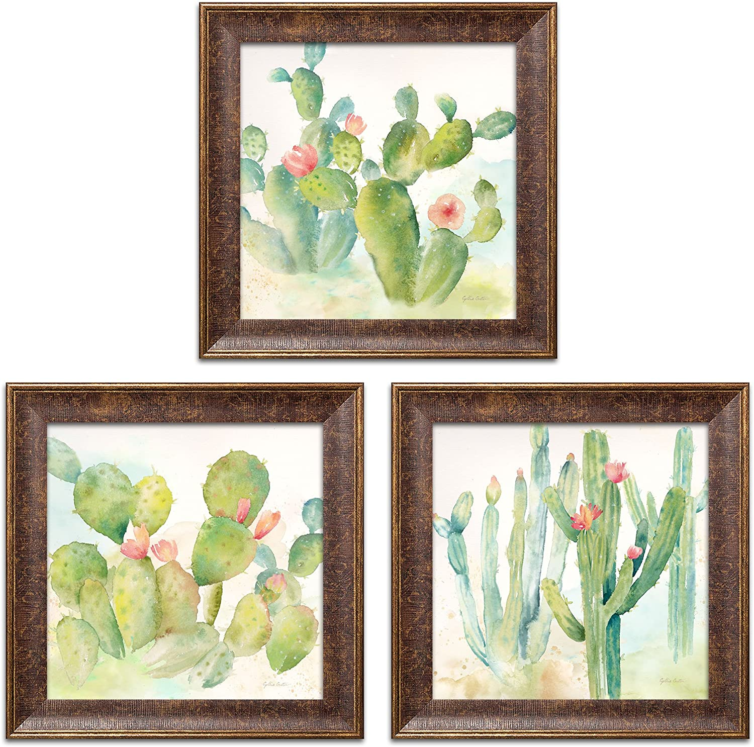 Roaring Brook Lovely Watercolor-Style Desert Cactus Print Set by Cynthia Coulter; Three 12x12in s