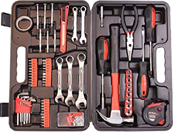 148Piece Hand Tools Kit Plastic Toolbox Storage Case Ideal for home and garage