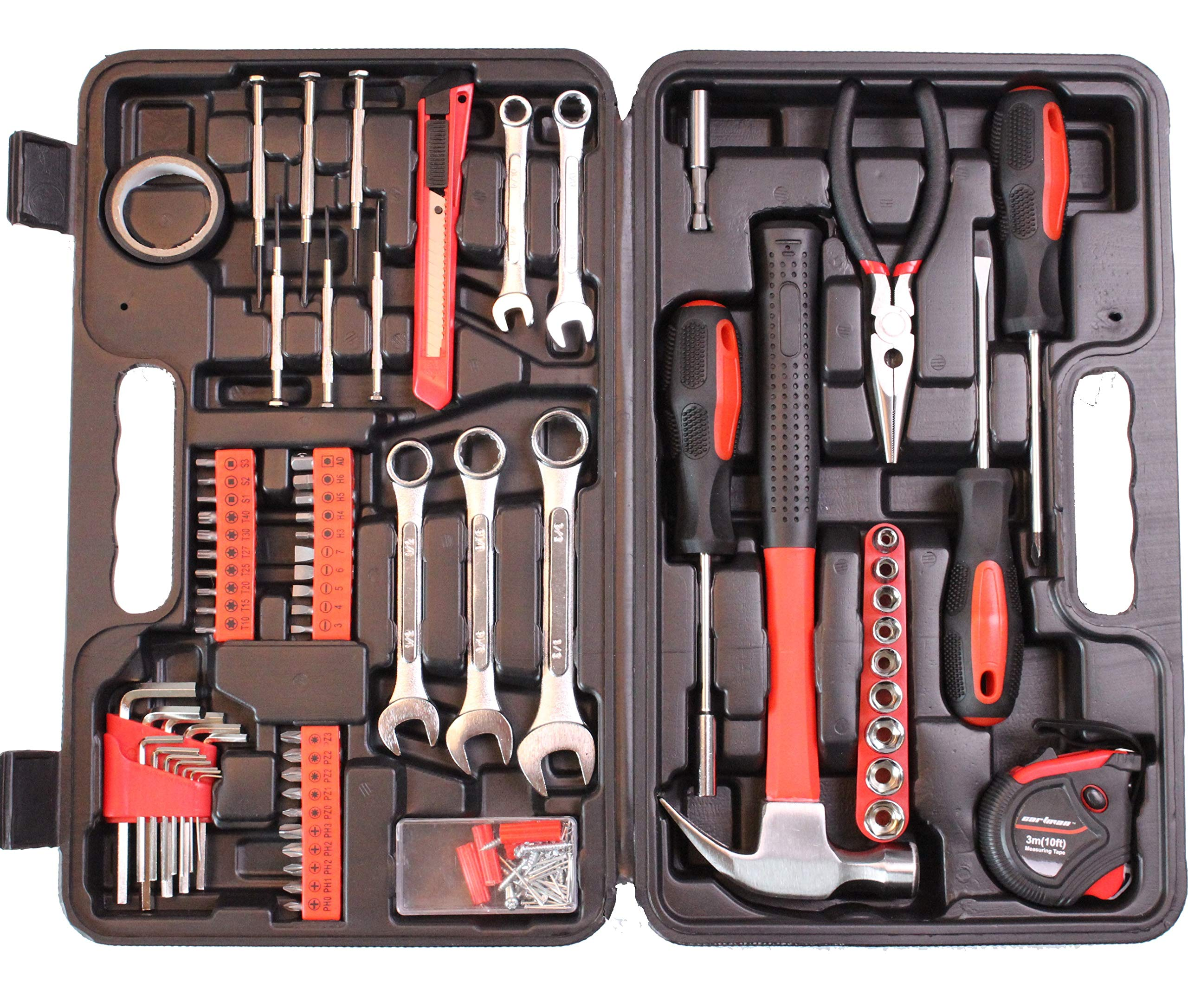 CARTMAN 148-Piece Tool Set - General Household Hand Tool Kit with Plastic Toolbox Storage Case by CARTMAN