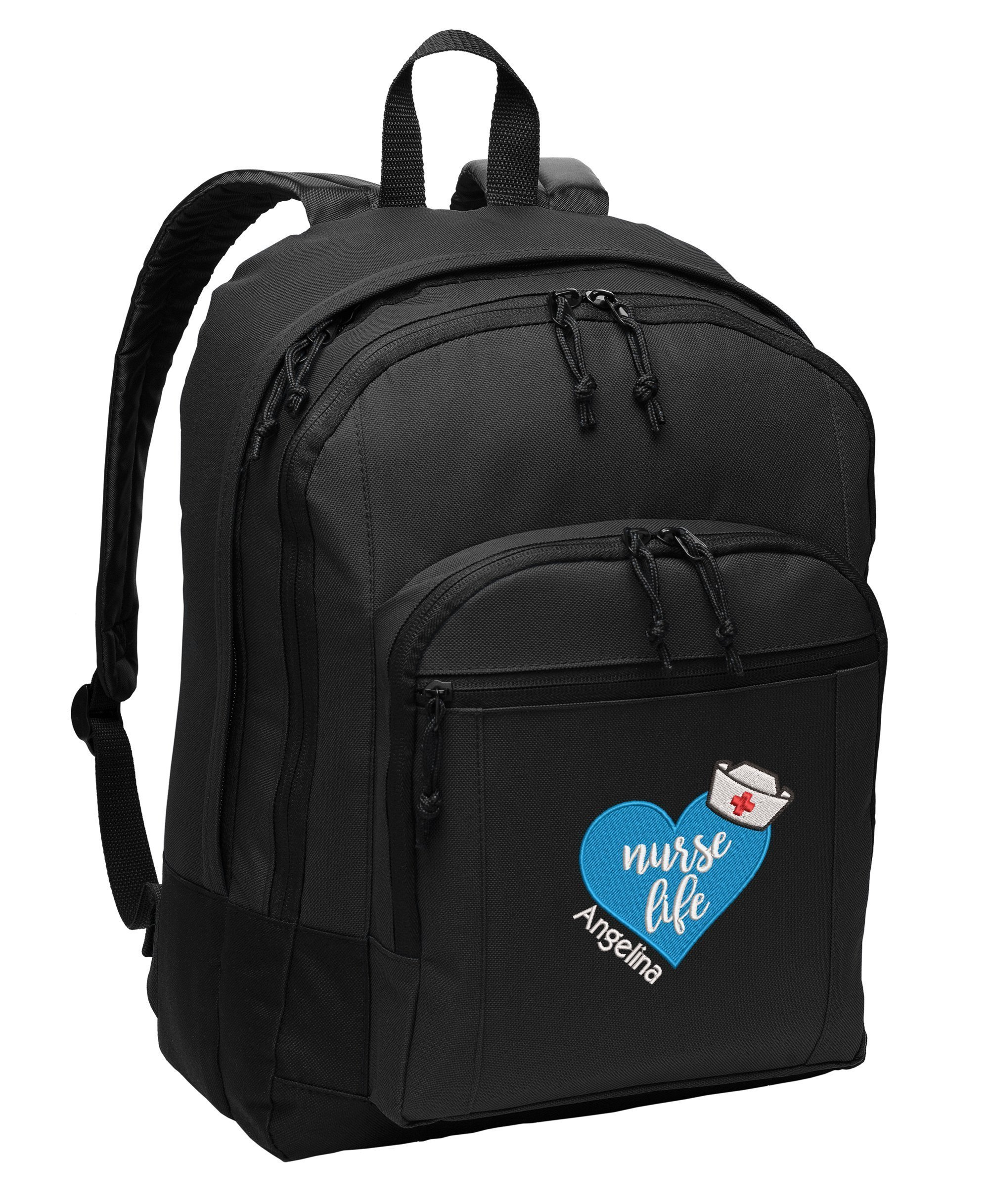 Nurse Life Heart RN, LPN, LVN Personalized Embroidered Back Pack