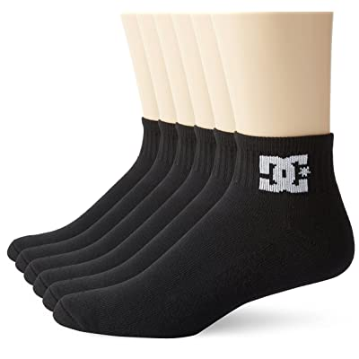 6 Pack Mens DC Shoes Black Quarter Crew Socks White Logo: Clothing