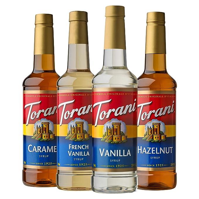 Amazon.com : Torani Variety Pack Caramel, French Vanilla, Vanilla & Hazelnut, 25.4 Ounces (Pack of 4) : Grocery & Gourmet Food