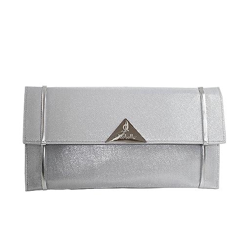 Bluebags Bolso de Ceremonia de El Caballo, Cartera de Mano para Mujer, Plateado (Plata), 1 x 16.5 x 31 cm: Amazon.es: Zapatos y complementos