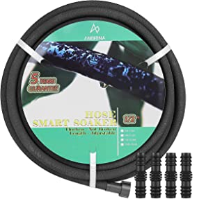 M&D Jewelry Shoaker Hose 25 feet for Garden, Anti-aging and Anti-fracture Hose, Heavy Duty Drip Garden Hose, Save 70% Water Garden Hose for Lawn, 25 FT x 1/2 inch (INC 25 FT, 50 FT, 75 FT, 100 FT)