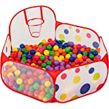 FoxPrint Basketball Ball Pit - Toddler Ball Pit Tent - Sensory Ball Pit with Basketball Hoop & Zippered Storage Bag - 4'/120cm - Balls not Included