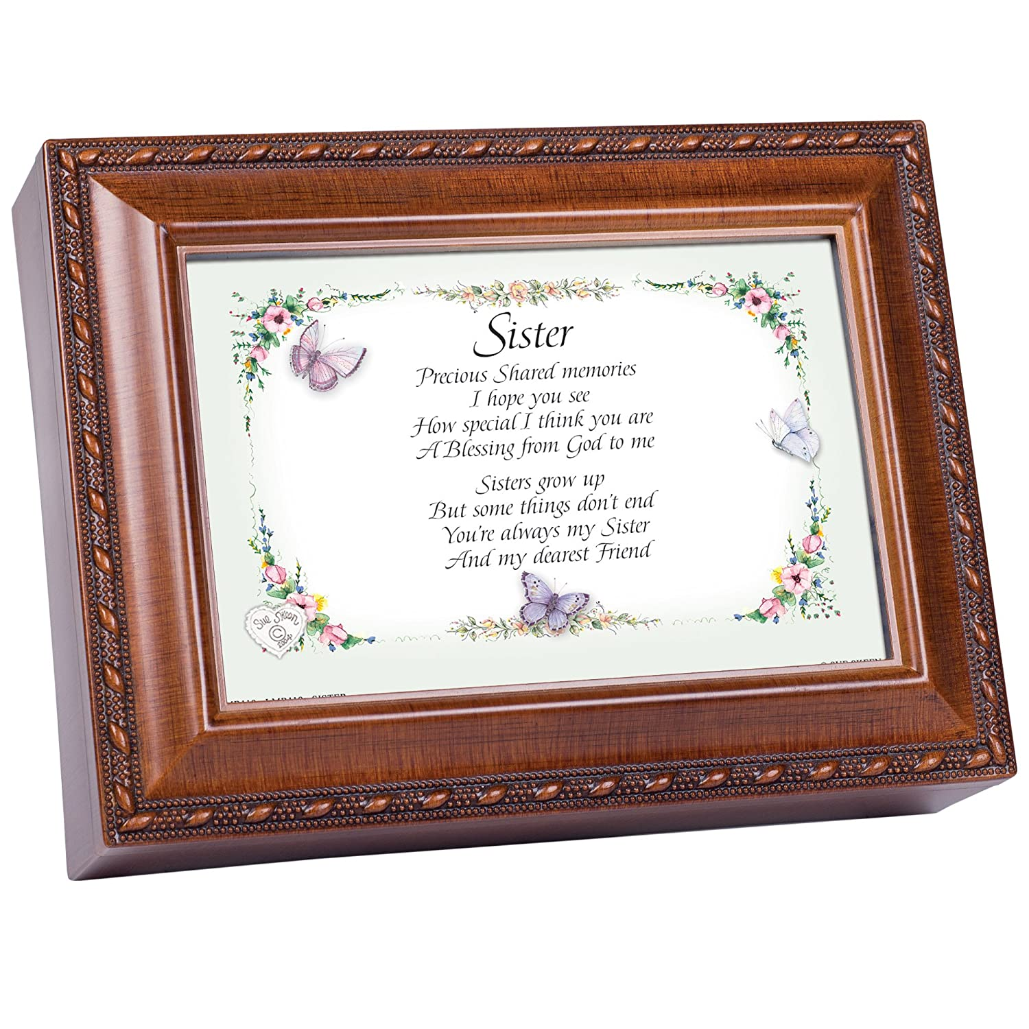 Cottage Garden Sister Woodgrain Music Box Plays Friends Are For MB119