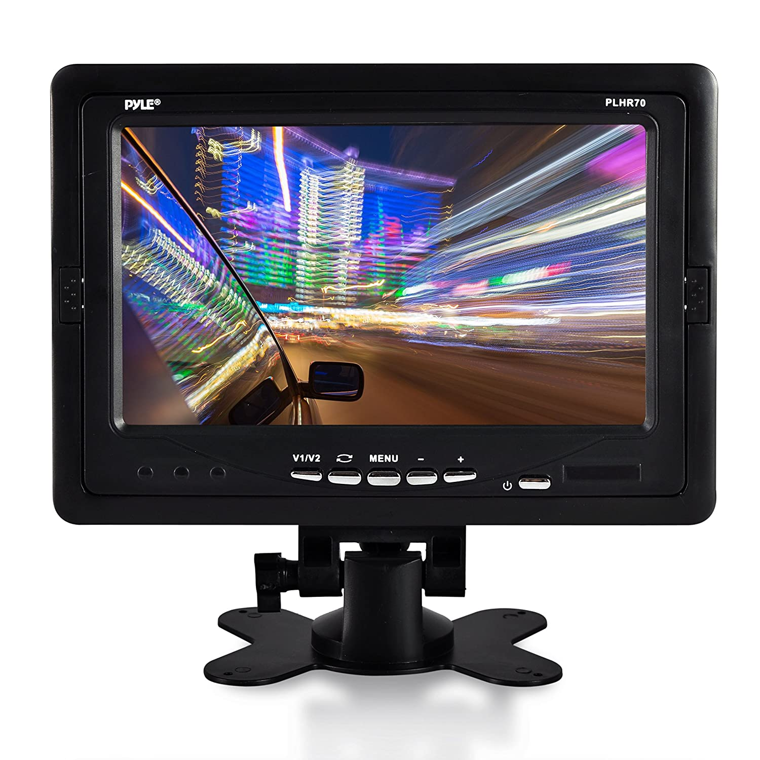 "Premium 7"" Inches Rearview Car LCD Monitor by Pyle – Parking Monitor Assistant with Wireless Remote Control – Full Color Wide Screen – Can Be Installed in Headrest Post (PLHR70)"