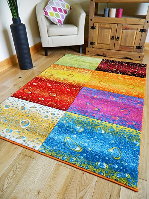 MULTI COLOURED FUNKY BRIGHT MODERN THICK SOFT HEAVY QUALITY AREA