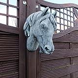 Steinfigur Pferdekopf Pferd zum Aufhängen Tierfigur Gartenfigur Steinguss