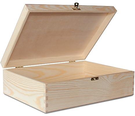 Creative Deco A4 Caja Madera para Decorar | 33,8 x 24,8 x 10 cm | con Tapa y Cerradura | Documentos Decoracion Papeles Cartas Almacenaje Decoupage ...