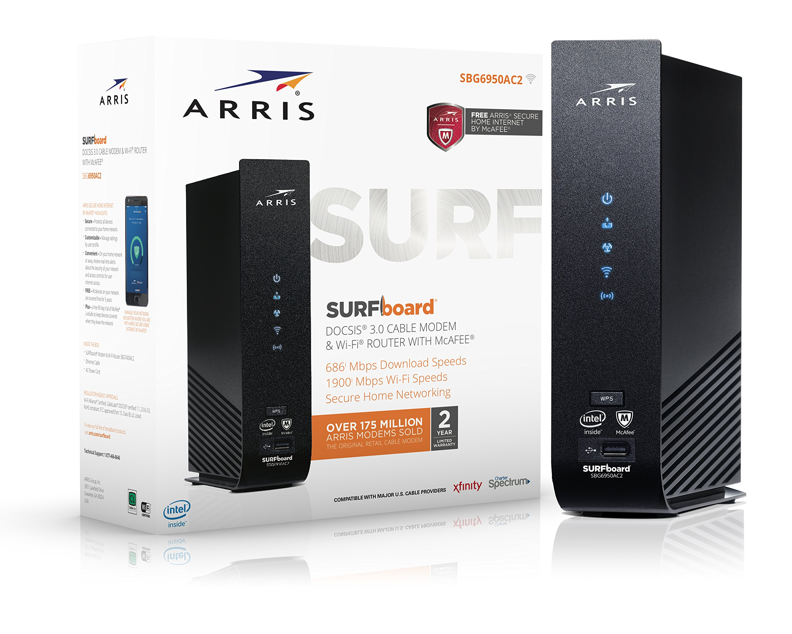 ARRIS SURFboard SBG6950AC2 16x4 DOCSIS 3.0 Cable Modem / AC1900 Wi-Fi Router / McAfee Whole Home Internet Protection- Black