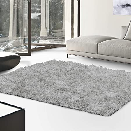 Superior Textured Shag Area Rug, Silver, 5' X 8' by Superior
