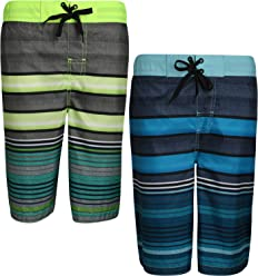 Rusty Boys 2 Pack Loose Fit Swim Trunk with Fun Printed Patterns