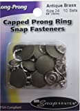 Snap Source Capped Long-Prong Snaps Size 24 10/Pkg-Antique Brass