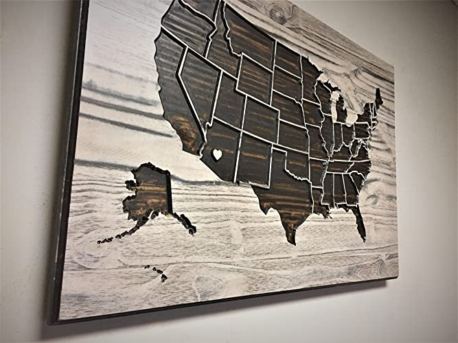 Amazoncom United States Map Wall Art Wood Wall Art Wooden Map - Us map wall art