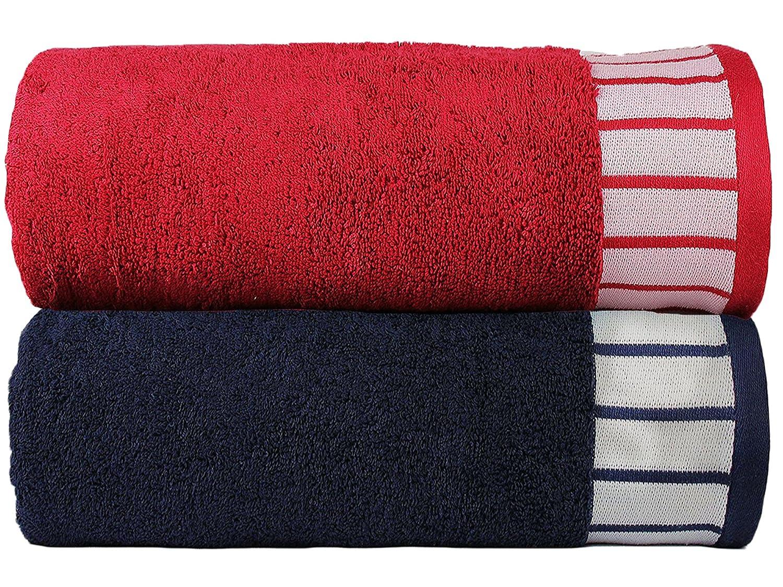 Lot de deux serviettes de bain pour Lui et Elle en coton 550/g//m/² Trident 2 pieces Combo Bath Towels Red::Midnight Blue Coton