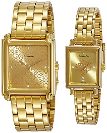 Analog Champagne Dial Couple's Watch -NK70538080YM01