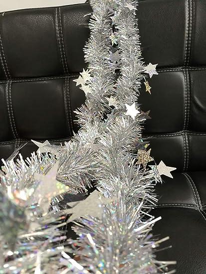 Amazon Com Duobao Christmas Metallic Foil Tinsel Garland Silver