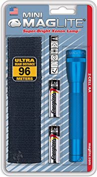 Maglite Mini Incandescent 2-Cell AA Flashlight Combo Blue