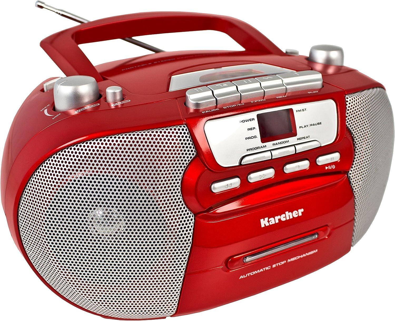 Karcher Rr 5040 Oberon Tragbares Cd Radio Am Fm Radio Cd Kassette Aux In Netz Batteriebetrieb Rot Audio Hifi