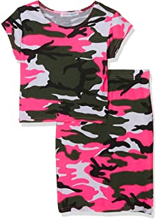 8ca42db06ebf JollyRascals Girls Neon Camo Crop Top and Skirt Outfit New Kids Summer Set  Ages 7 8