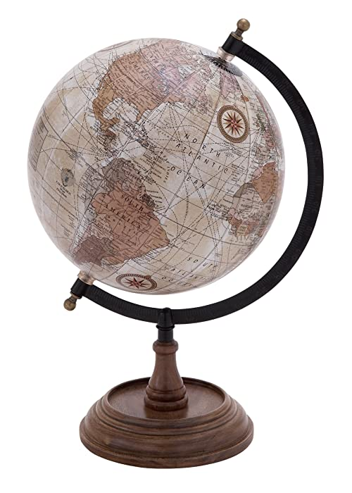 Deco 79 Traditional Wood, Metal, and Plastic Decorative Globe 14''H,9''W Multicolored Finish