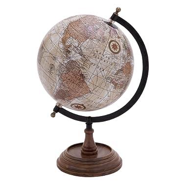 Deco 79 Traditional Wood, Metal, and Plastic Decorative Globe, 14  H x 9  L, Multicolored Finish