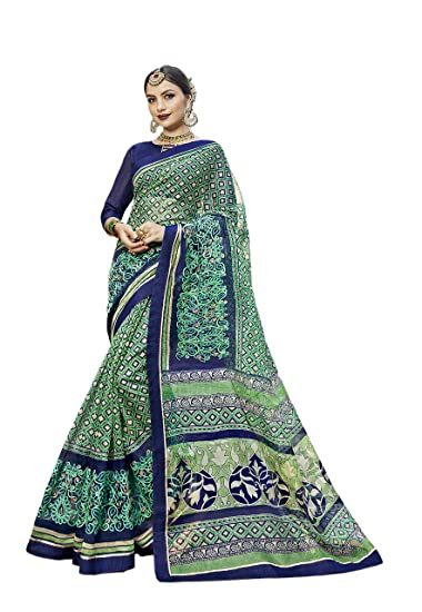 149b091755 Perfect Resource Super Net Cotton Green Saree With Unstitched Blouse:  Amazon.in: Clothing & Accessories