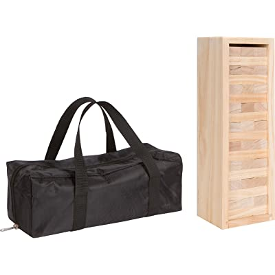 """54 Piece 12"""" Wooden Stacking Game with Wood Box & Carry Case by Trademark Innovations"""
