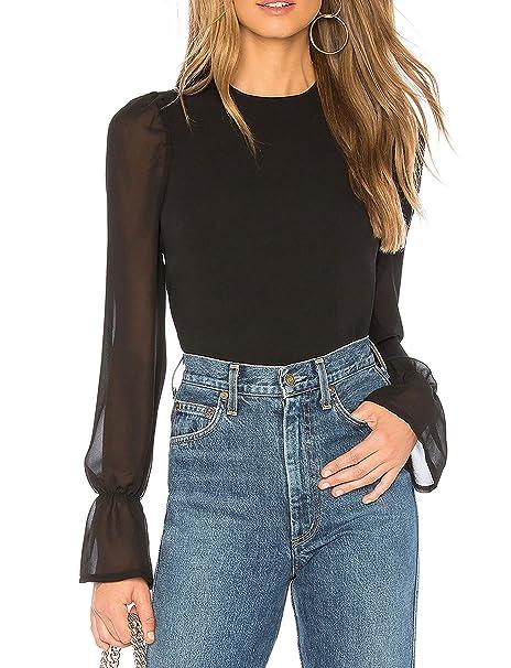 61095f58 May&Maya Women's Black Semi-Sheer Sleeves and Back Long Sleeve Tops Tee Shirt  Blouse at Amazon Women's Clothing store: