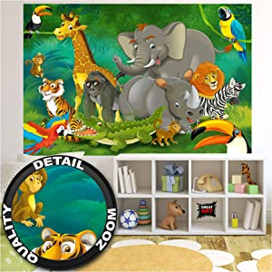 GREAT ART Kid's Room Nursery Photo Wallpaper – Jungle Animals – Picture Decoration Zoo Wildlife Rainforest Nature Safari Adventure Lion Image Decor Wall Mural (82.7x55.1in - 210x140cm)