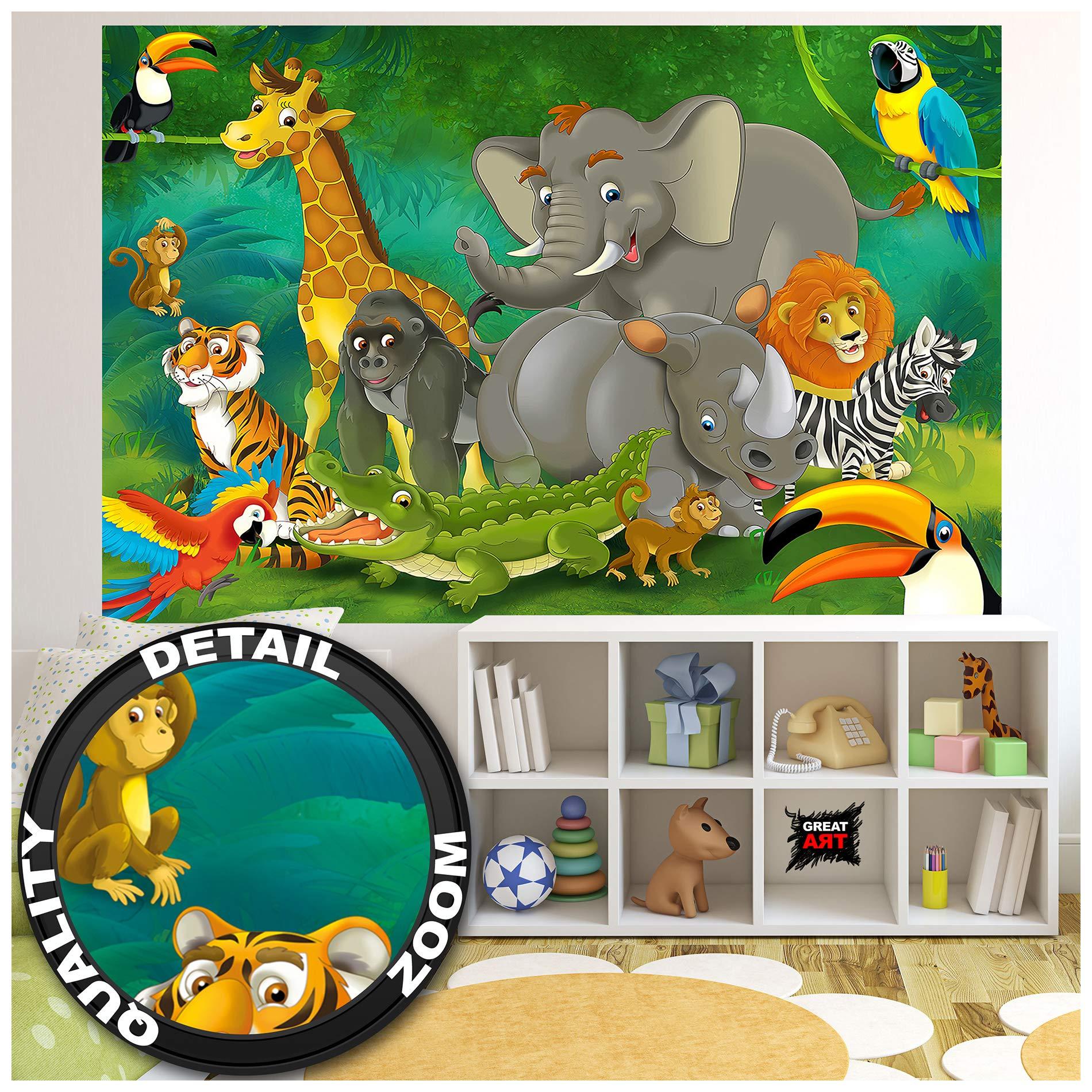 GREAT ART Kid's Room Nursery Photo Wallpaper – Jungle Animals – Picture Decoration Zoo Wildlife Rainforest Nature Safari Adventure Lion Image Decor Wall Mural (82.7x55.1in - 210x140cm)