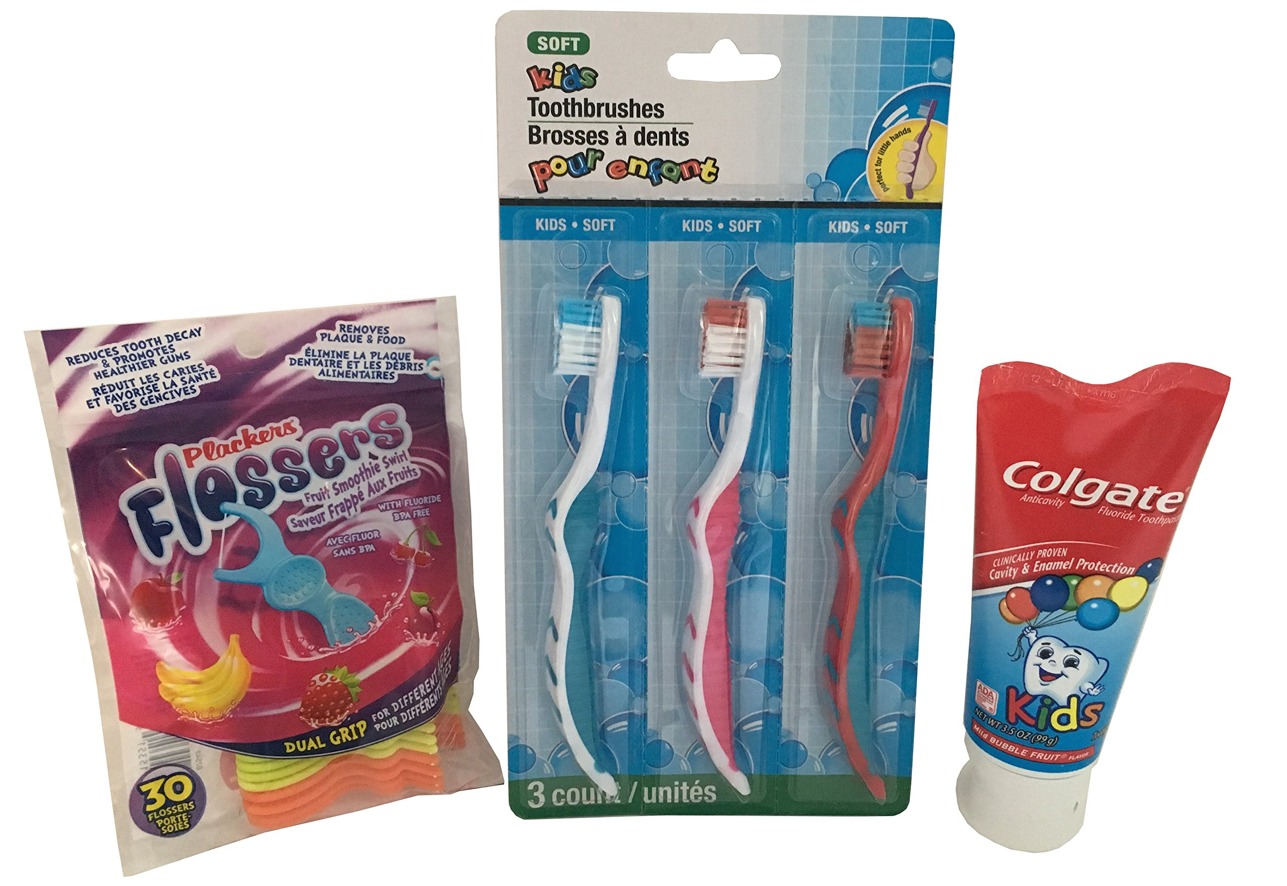 Kids Toothbrush Toothpaste and Flossers Kit - 3 Kids Soft Bristle Toothbrushes Designed for Smaller Teeth & Gums Colgate Bubble Fruit Toothpaste & Kids Flossers with Fluoride Fruit Smoothie Swirl