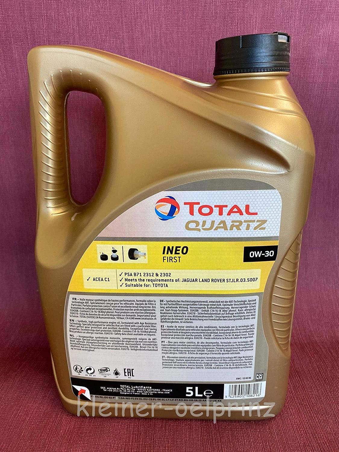 Total Quartz Ineo First 0w 30 Acea C1 In 5 Litre Canister Auto