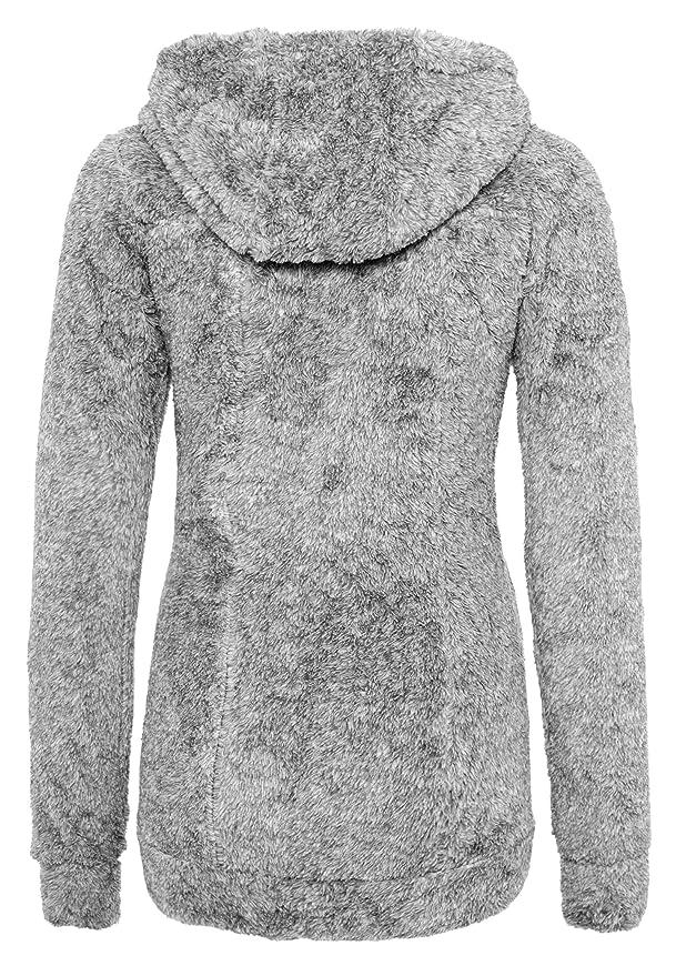 Sublevel Abrigo de Mujer de Tela Peluche | Abrigo Largo de Forro Polar con Cuello Alto Gris Oscuro S: Amazon.es: Ropa y accesorios