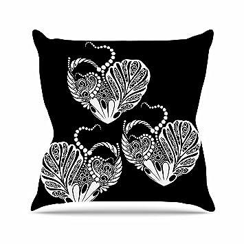 Amazon Com Kess Inhouse Maria Bazarova Three Hearts Black White