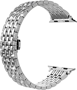 Wearlizer Silver Bling Compatible with Apple Watch Band 38mm 40mm Crystal Rhinestone for iWatch SE Luxury Stainless Steel Metal Diamond Bracelet Strap Wristband Replacement Series 6 5 4 3 2 1 Sport