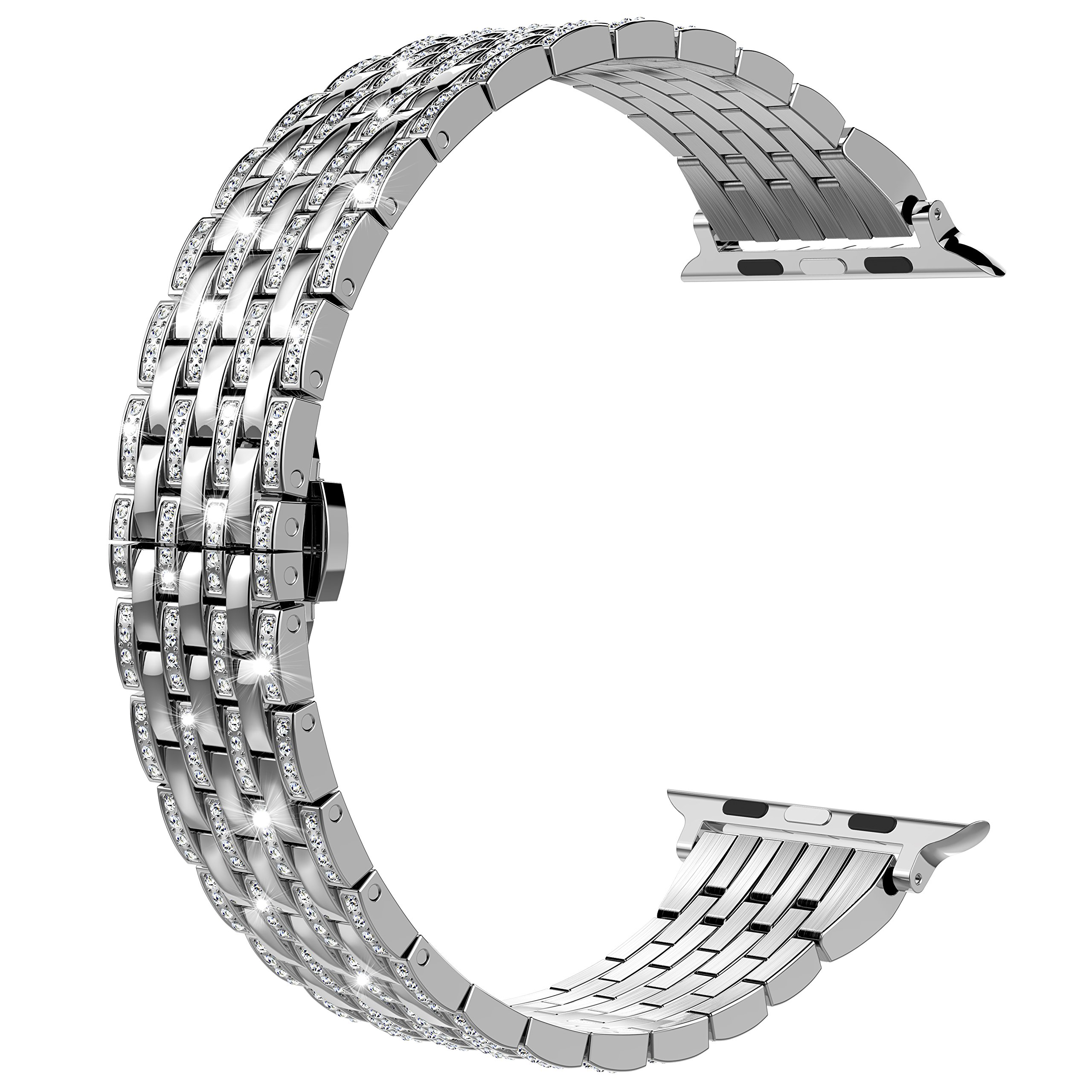 Wearlizer Silver Bling Compatible with Apple Watch Band 38mm 40mm Crystal Rhinestone for iWatch Luxury Stainless Steel Metal Diamond Bracelet Strap Wristband Replacement Series 4 3 2 1 Edition Sport by Wearlizer