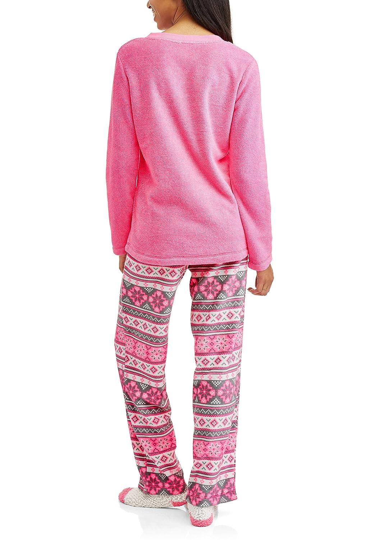 Monday Should Be Optional Pink 3 Piece Fleece Pajama Sleep Set w/Socks at Amazon Womens Clothing store: