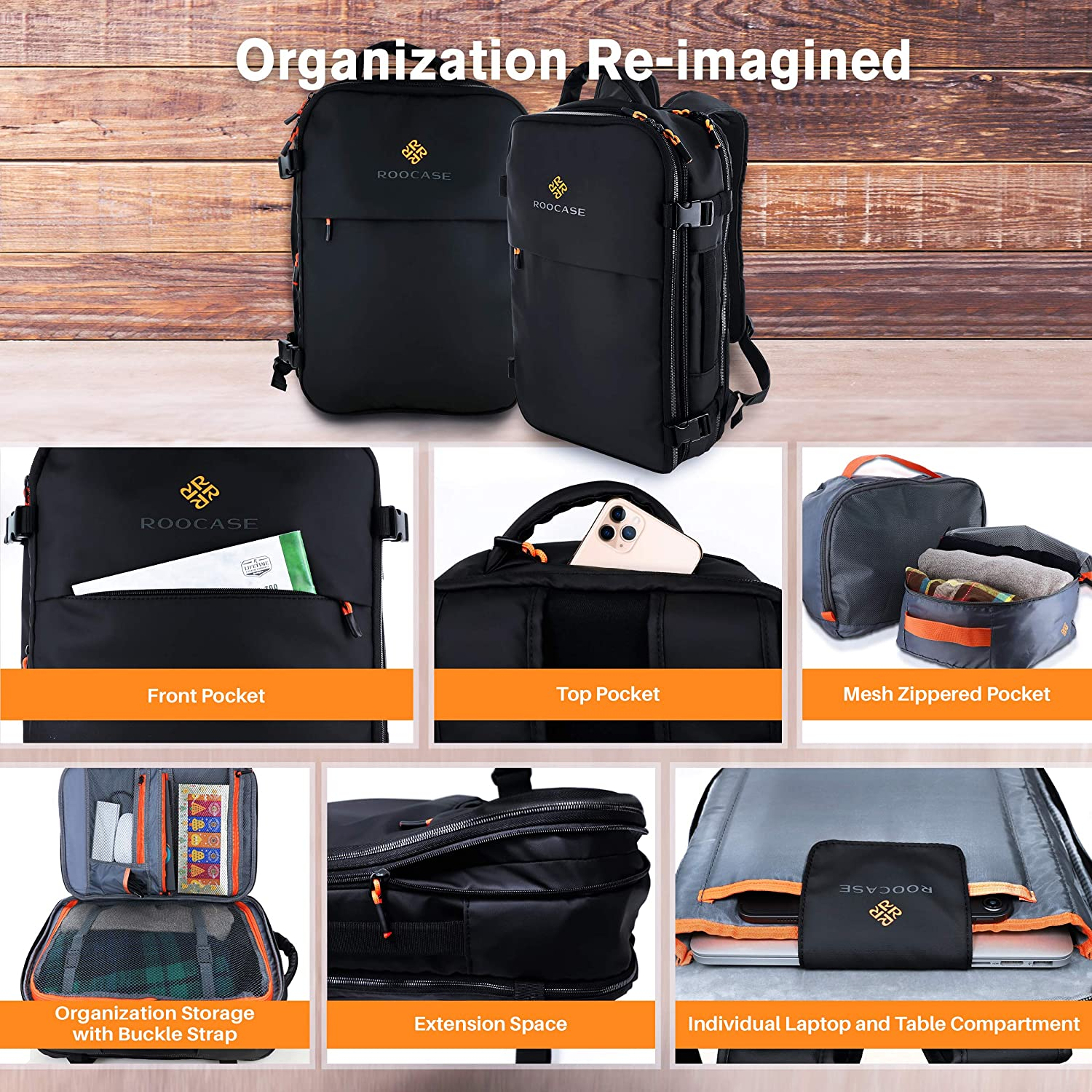 2 Free Packing Cubes Included 15.6 inch Laptop for Business Weekender Luggage Carry On Backpack for International Travel Bag for Men and Women rooCASE Venice Travel Backpack 25L