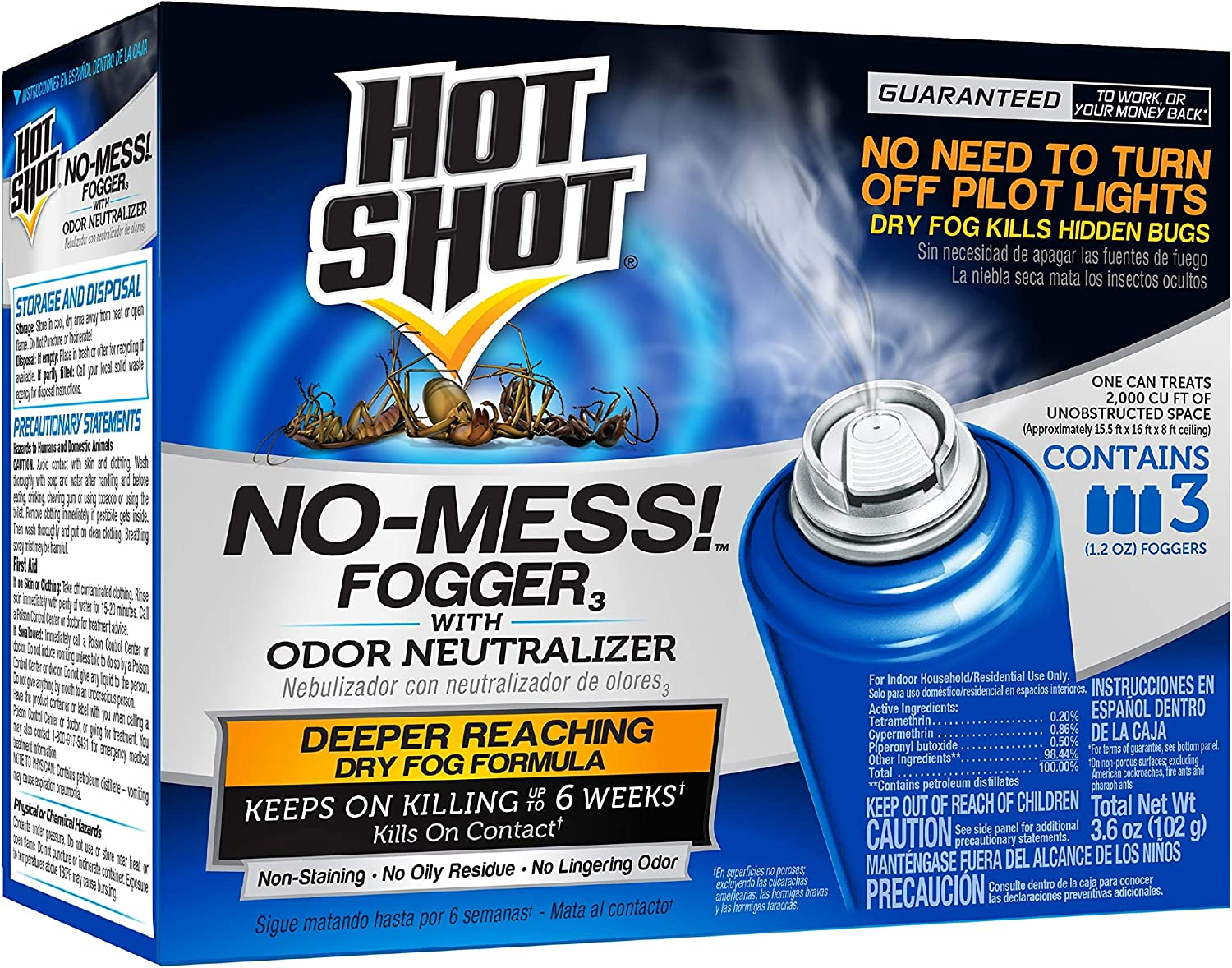 Hot Shot No-Mess! Fogger With Odor Neutralizer, 3/1.2-Ounce, 6-Pack