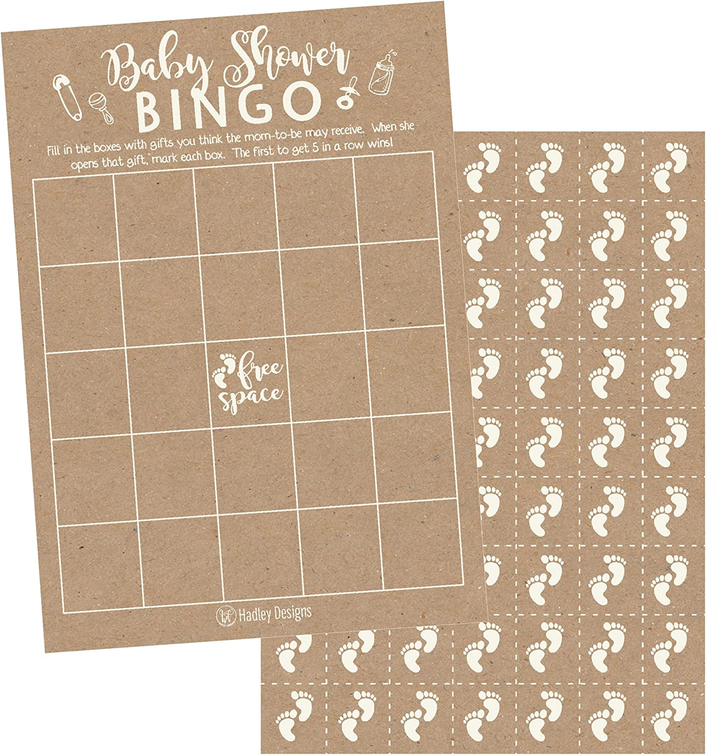 Cute Kids Woodland Paper Pattern PLUS 25 Pack of Baby Feet Game Chips Bulk Blank Bingo Squares Funny Baby Party Ideas and Supplies For Girl or Boy 25 Rustic Kraft Bingo Game Cards For Baby Shower