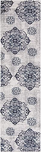 Bergen Home D cor UNQ8047-3X10 Area Rug, 31 W x 118 L Contemporary Floral Medallion Design 3 X 10 Runner, 2 7 x 9 10 , 8047-Ivory