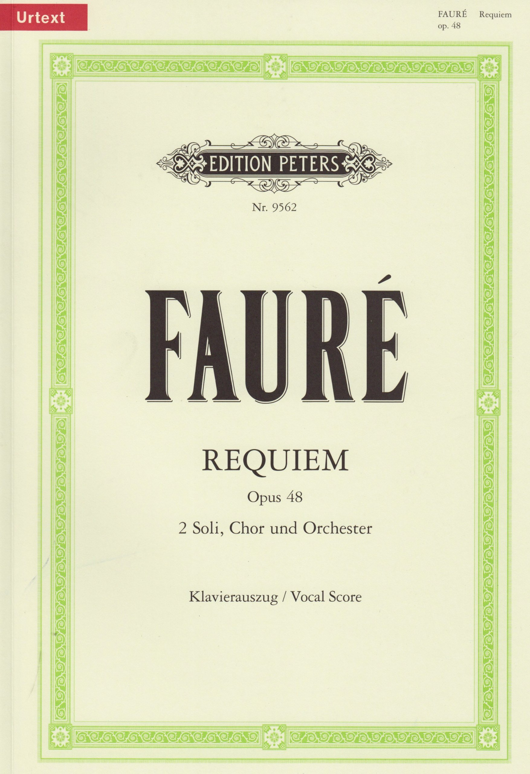 Messe de Requiem d-Moll op. 48: für Soli (Sopran- und Bariton-Solo), Chor und Orchester / Klavierauszug