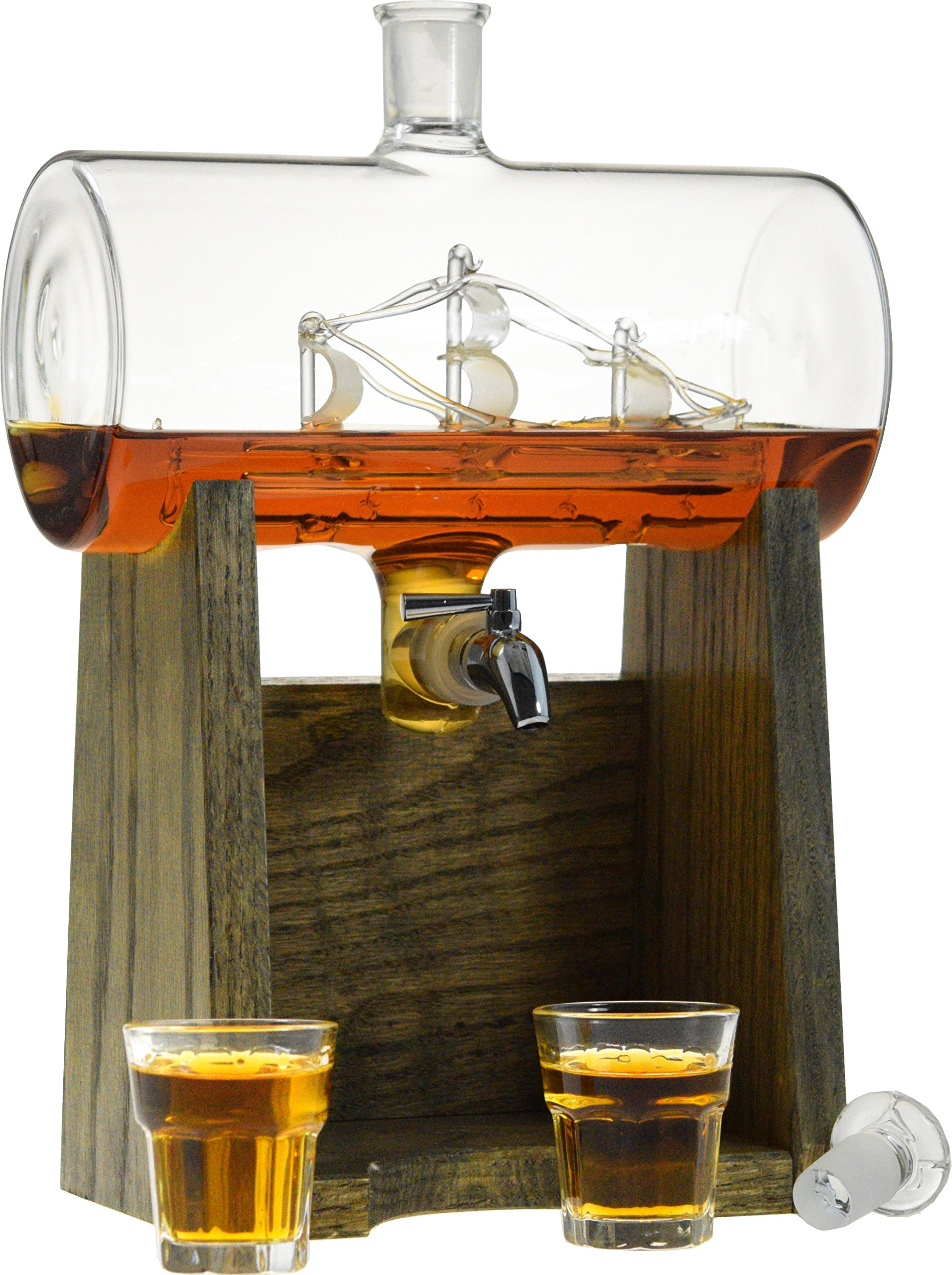 Liquor Decanter – Scotch Whiskey Decanter - 1150ml Dispenser for Alcohol - Vodka, Bourbon, Rum, Wine, Whiskey, Tequila or Even Mouthwash - Glass (Constellation1797 from Prestige Decanters)
