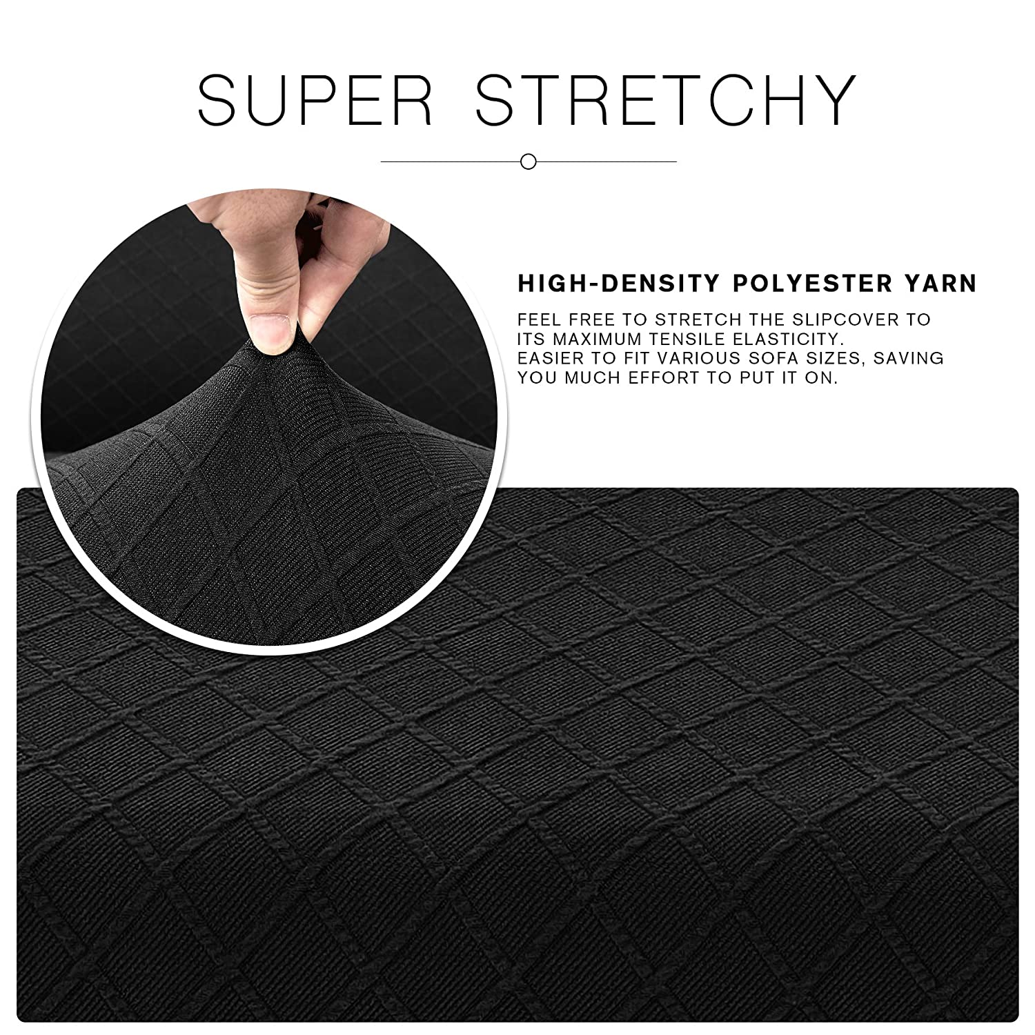 CHUN YI Stretch Polyester and Spandex Rhombus Cushion Slipcovers Multi-Purpose Couch Chair Seat Cushion Cover for 1-Seater Cushion (Black, Chair ...