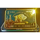 1 Oz .999 Fine Pure Gold Layered Steel Bar Small Bull with Bullion 100mills Grace Specialty 021