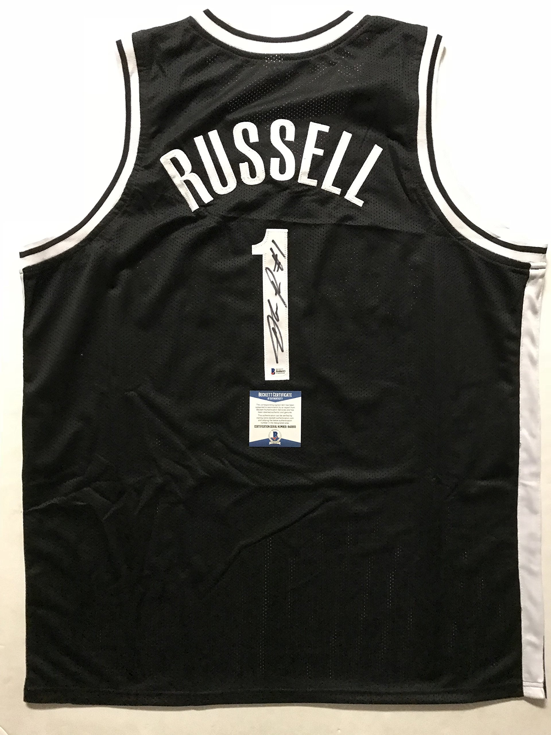 Autographed/Signed D'Angelo Russell Brooklyn Black Basketball Jersey Beckett BAS COA